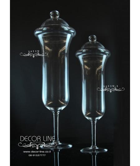 אגרטל זכוכית קלאו עם מכסה גובה 55 צבע שקוף